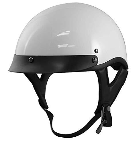 VCAN Cruiser Gloss White Motorcycle Half Helmet (Medium)