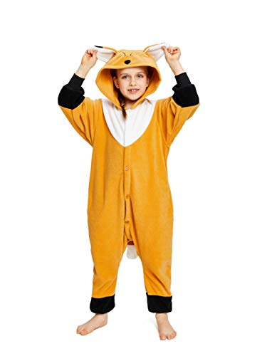 NEWCOSPLAY Unisex Children Animal Pajamas Halloween Costume (95#, Brown Fox) -
