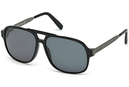 D Squared Lunettes de soleil 0203 Shiny Black / Gunmetal / Smoke 01A: Shiny Black / Gunmetal