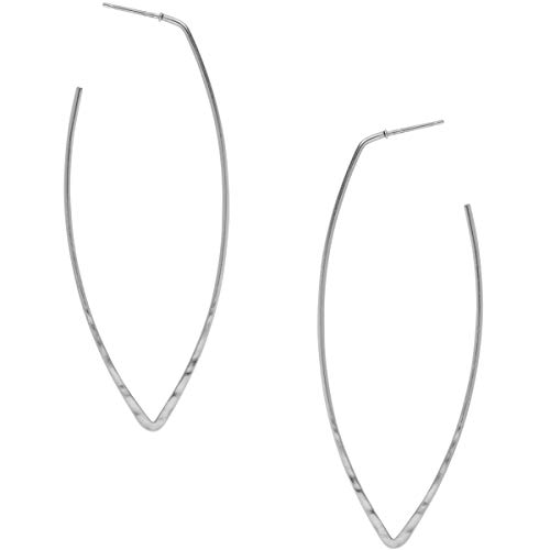 Humble Chic Big Hoop Earrings - Textured Long Open Leaf Statement Loops with Hypoallergenic Stainless Steel Post, Marquise 925 White, Sterling Silver-Electroplated ()