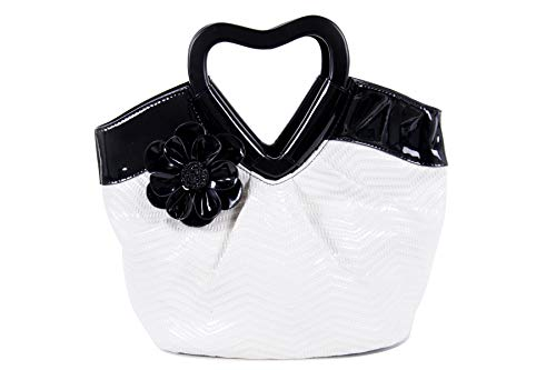 Women's Handbag Patent Purse with Flower and Heart Handle (Black/White)