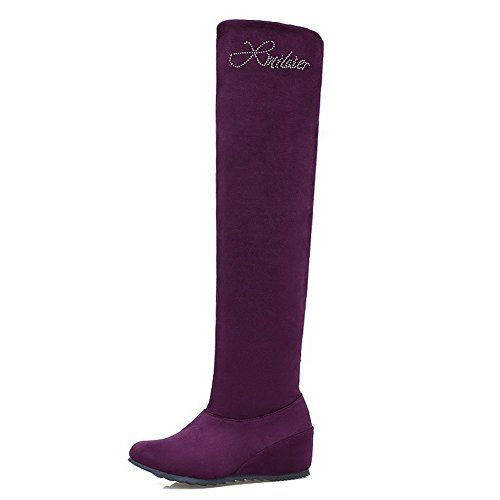 Closed Pull High Allhqfashion Heels Frosted Toe Women's on Purple Boots Round top Kitten q1qxptz
