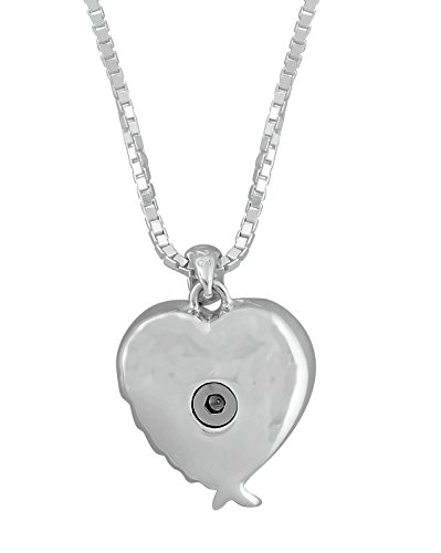 Sterling Silver With White CZ Stones Angel Wing Heart Urn Pendant 18 Inch Sterling Silver Box Chain by Forever Urn Jewelry (Image #2)