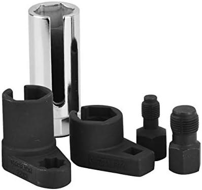 5個の酸素センサーソケットレンチスレッドチェイサーツールキットすべての自動O2ソケットの取り外しに対応取り付け設置オフセット真空-赤