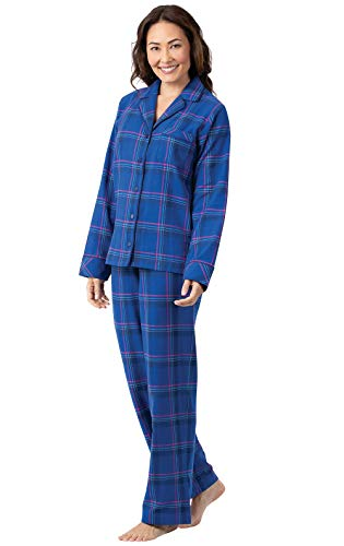 PajamaGram Womens Flannel Pajamas Plaid - Button Down PJs, Indigo, 2X, 20-22 (Womens Joe Boxer)