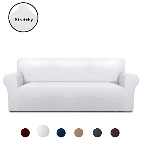 PureFit Super Stretch Chair Sofa Slipcover - Spandex Anti-Slip Soft Couch Sofa Cover, Washable Furniture Protector with Anti-Skid Foam and Elastic Bottom for Kids, Pets (Sofa, White) (Buy Cheap Sofa)