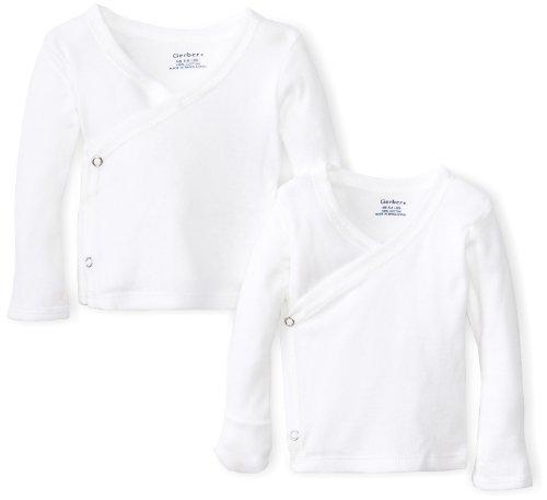 Gerber Unisex-Baby Newborn 2 Pack Long Sleeve Side Snap Mitten Cuffs Shirt