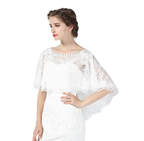 Wedding Cape Lace Bridal High-Low Capelet Bolero High-Low Cover Up Lace Shawl 1920S Women Shrug Wrap Off White Style 4