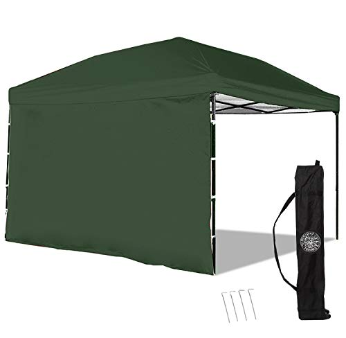 - Punchau Pop Up Canopy Tent with Sidewall 10 x 10 Feet, Green - UV Coated, Waterproof Instant Outdoor Gazebo Tent, Bonus Roller Carry Bag