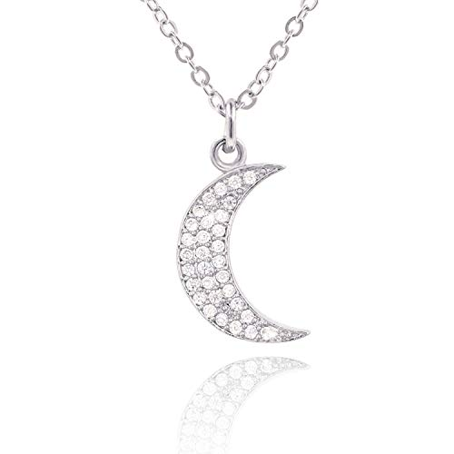 COZLANE Silver Crescent Moon Pendant CZ Paved Necklace for Women