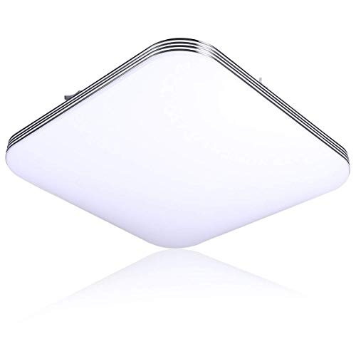 (B-right LED Ceiling Light, 13inch 20W (120W Equivalent) 5000K Cool White, Square Lighting Fixture for Bathroom, Kitchen, Hallway,)