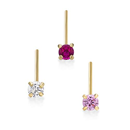 Lavari - 14K Yellow Gold 2mm White Pink Red Cubic Zirconia Nose Ring Set