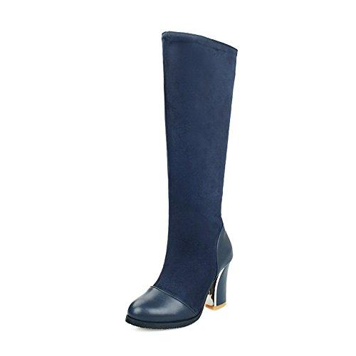 AdeeSu Material Boots Soft Ladies Toe Zipper Chunky Round Heels Royalblue rrvp7q