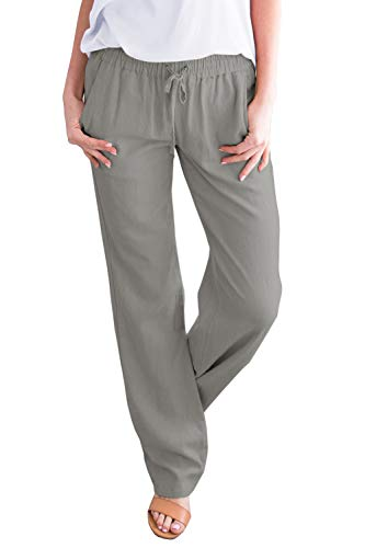 Ybenlow Womens Palazzo Linen Pants Wide Leg High Waisted Drawstring Casual Long Trousers (XX-Large, Grey) from Ybenlow