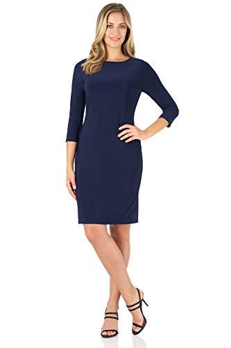 Rekucci Women's Classic Chic Shift Dress (14,Navy)