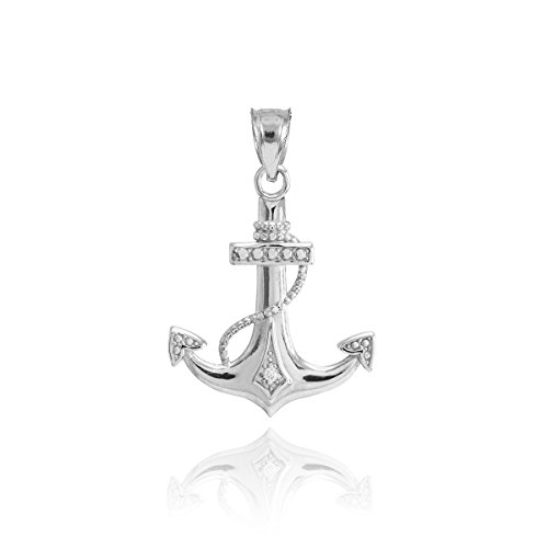 American Heroes 925 Sterling Silver CZ-Accented Fouled Anchor Charm ()