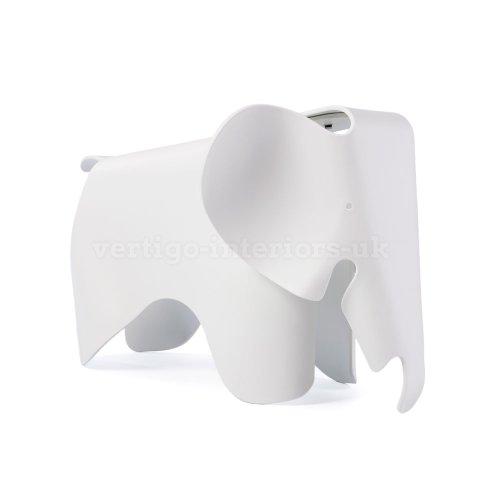 Eames Style Elephant Childs Bedroom Playroom Stool Chair - White by Vertigo Interiors USA