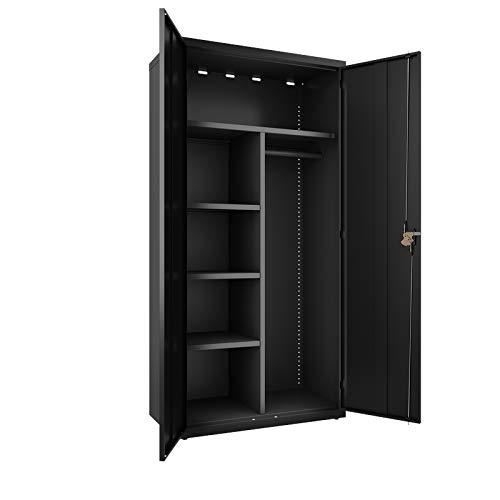 (Hirsh Wardrobe Storage Cabinet with Garment Rod Adjustable Shelves in Black, Fully Assembled Welded Construction)