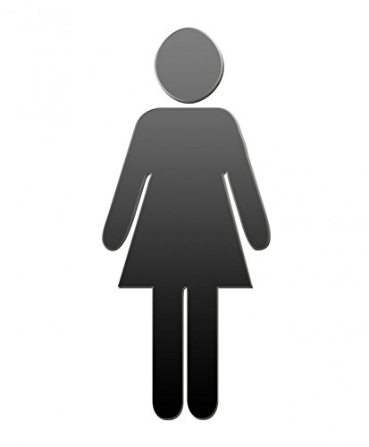 Shape Wall Decals Women Sign for the Restroom - 18 inches x 15 inches - Peel and Stick Removable Graphic