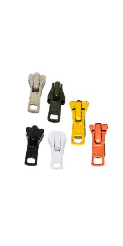 (ZipperStop Wholesale Authorized Distributor YKK® Sale Zipper Repair Kit Vislon ~ YKK#5 Molded Slider ~ Assortment Colors - Beige, Black, Olive Green,orange, White, Yellow (6 Sliders/pack))