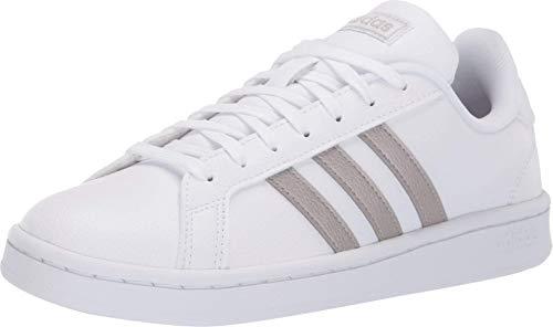 adidas Women's Grand Court Running Shoe, Platino Metallic/White, 6 M US
