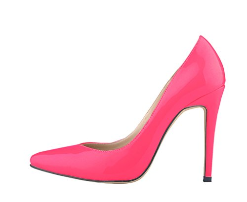 Heel pu Pointed Stiletto Mouth Shallow patent Women's Pumps Toe Elegant High Shoes rose RB7w0Rq456