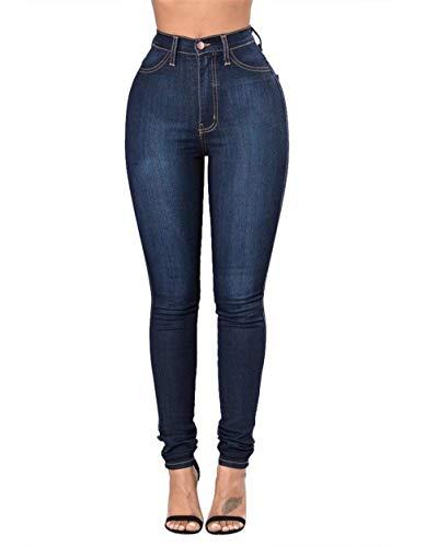 Haute Crayon Stretch Dunkelblau Confortable Pantalon Battercake Avec Femme Denim Casual Taille Poches Dame Bouton Jeans HD9IW2YE
