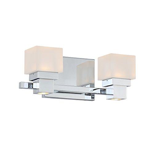 WAC Lighting WS-44512-CH 2 Chrome Kube LED Bath & Wall Light Opal