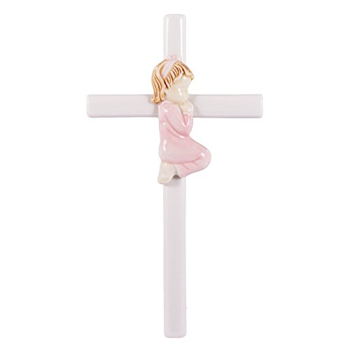 Praying Girl Hand Painted White Porcelain 7.5 inch Wall Cross ()
