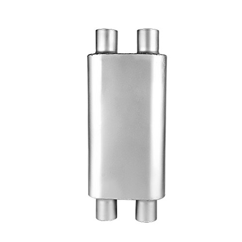 2.5 Inch Dual Inlet Muffler, AUTOSAVER88 2-1/2 Universal Race Muffler Stainless Steel Dual In Dual Out High Flow Exhaust Muffler for (High Flow Mufflers)