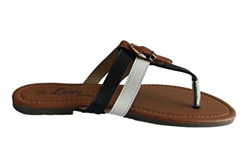 Love Et femme Blanche Tong Shoes noire YtqxaYS