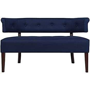 Jennifer Taylor Home Jared Collection Modern Chic Stylish Hand Tufted Armless Settee Bench with Wooden Legs, Dark Midnight Blue