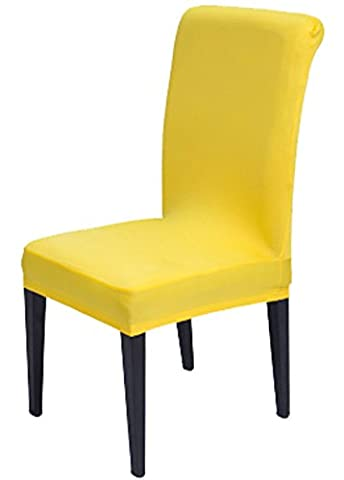 Comfy Home Solid Color Stretchy Removable Washable Chair Covers Dining Room Chair Protector Cover Shield Slipcover For (Yellow Room Chairs)