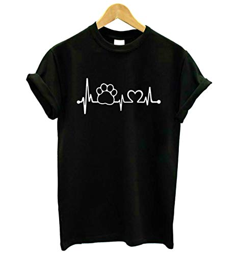 Paw Heartbeat Lifeline Dog Cat Women Tshirt Cotton Casual Funny T Shirt for Lady Girl Top Tee Hipster -