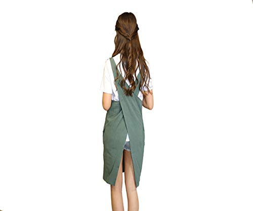KKTech Japan Style Apron Soft Cotton Linen Apron X Shape Apron Solid Color Halter Cross Bandage Aprons Kitchen Cooking Clothes with Two Side Pockets (Greyish Green)