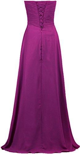 Evening Chiffon Long Women's Gown Strapless Burgundy Dresses Bridesmaid ANTS 7UzqT