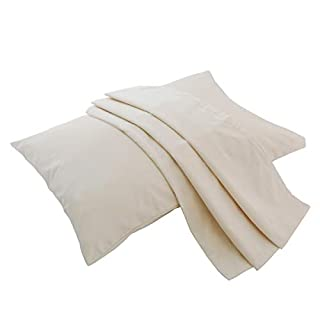 Lofe Organic Cotton Pillow Case - 20''×28'' Queen Size Pillow Cover - 100% GOTS Certified Organic Cotton - 300 TC Thread Count - Soft, Safe and Hypoallergenic - Off White
