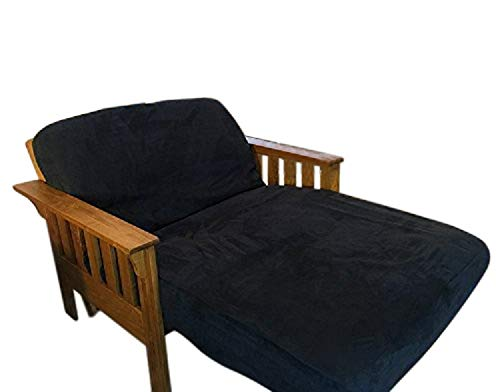 OctoRose Twin Size Elastic Around on Backing Bonded Micro Suede Easy Fit Fitted Futon Cover (Black) (Fitted Suede Sheet)
