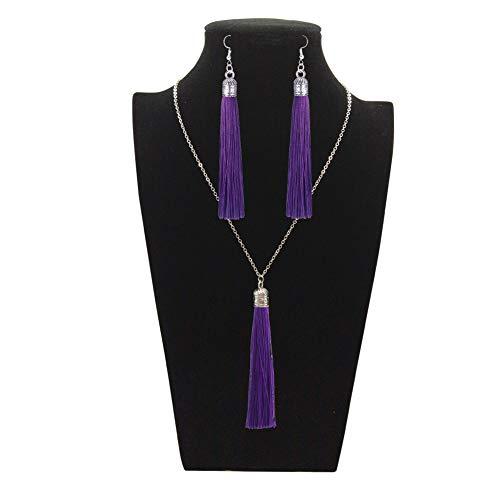 - Tuoke-peri Colorful Long Tassel Necklace Dangle Earrings Bohemian Drop Pendant Jewelry Sets for Women and Girls (9 Purple)