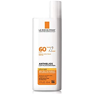 La Roche-Posay Anthelios Light Fluid Face Sunscreen Broad Spectrum SPF 60, Oxybenzone Free, Non Greasy, Non-Comedogenic, 1.75 Fl. Oz. (Packaging may vary)