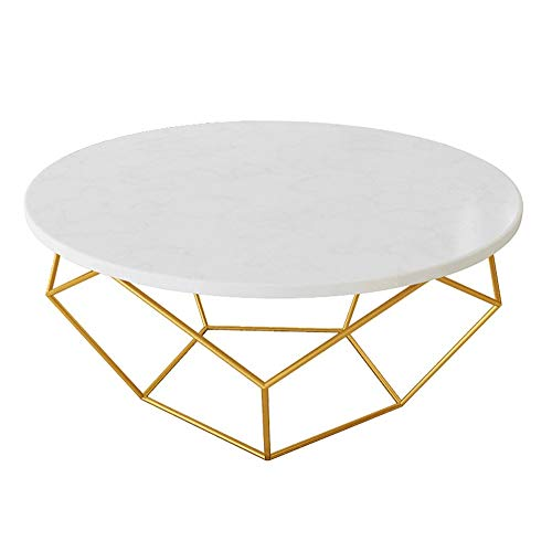 (YIKE-Coffee Table White Round Marble Coffee Table, Transparent Texture, Gold Wrought Iron Tripod, Small Apartment Living Room Sofa Table, Size: 60 × 45cm, 80 × 45cm)
