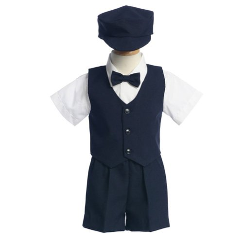 Bodice Vest (Lito Baby Boys Navy Vest Short Hat Easter Ring Bearer Suit 24M)