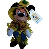 "Retired Disney Mickey Mouse Clubhouse Halloween Fall Classic Scary Farmer Scarecrow 9"" Plush Mickey Mouse Bean Bag Doll New with Tags"