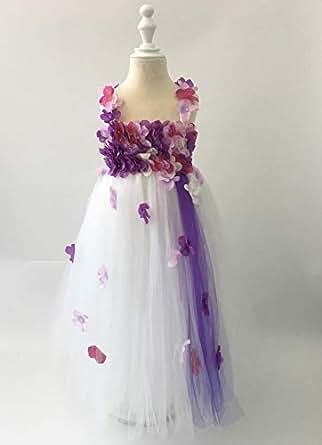 Cuts & Fits White Purple Hawaiian Tutu Dress