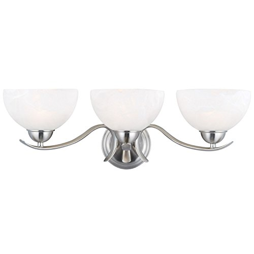Design House 3-Light Vanity Light Trevie Collection Satin Nickel by MegaDeal