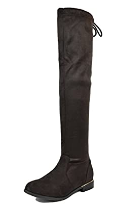 DREAM PAIRS New Women's Faux Strechy Suede Casual Over The Knee Thigh High Winter Lady Boots