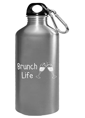 (Funny Champagne - Brunch Life Flutes Toast - Sparkling Wine Grapes Humor - Water Bottle)