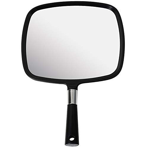 Mirrorvana Large & Comfy Hand Held Mirror with Handle - Barber Model in Black (1-Pack)