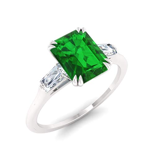 - Diamondere Natural and Certified Emerald and Diamond Baguette Engagement Ring in 14K White Gold | 0.67 Carat Three Stone Ring for Women, US Size 6
