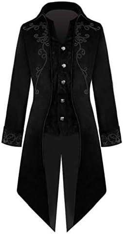 BCOGG Hombres adultos Traje de esmoquin medieval Corte Gótico Steampunk Trench Coat Gentlema Tailcoat Outfit Abrigo Uniforme para hombre C110501A S Negro
